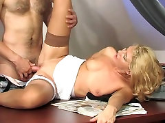 ass creamy orgasm sexy secretary in stocking fucks with a young
