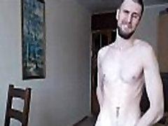 Tall young gay masturbates and eats cum