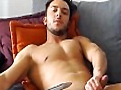 Student gay with biceps jerks off his dick and cums