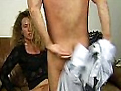 Hot Milf licking big hard dick then taking it all in to her wet shaved pussy