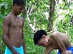 Horny Latin twinks in wet trunks giving a blowjob