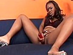 Ebony lesbian caught masturbating gets dildoed
