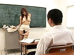Big titted Ai Kurosawa finger fucks herself in front of her student