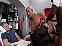 Black bull ravaging blonde wife on desk for cuckold
