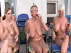 Mature lesbians outdoor party