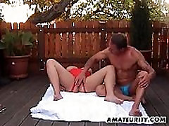 Chubby amateur Milf anal fuck in the backyard