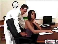 Donny Long gives cute super hot big hips swinger tit secretary her first big cock