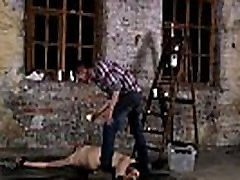 Sexy naked belk kock men bondage Chained to the warehouse floor and