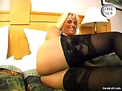 Blonde mature gives hot blowjob