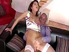 Older British dude fucks young brunette for voyeur wife