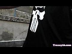 Tattooed tgirl tugs before cum over bigtits
