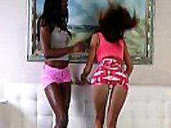 Flexible ebony and asian babe fucked in trio
