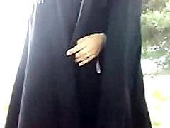 muslim girl outdoor change panties