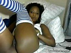 Ebony babe dildoing her pussy on webcam