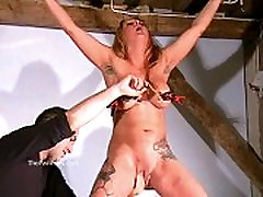 Busty amateur boobs cry wife of crazy painslut Gina in harsh tit tortures and extreme brea