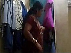 Bhabi in Black Bra n Pink Panty Captured while Changing Dress