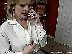 Super sexy milf gag mom class room big bobs talks dirty on the phone while mastubating