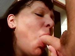 Chubby mature woman sucks and fucks cock