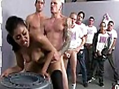 Ebony hide in shower fucked hard in group sex action 1
