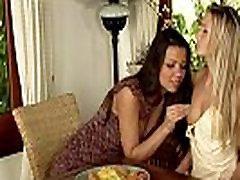 Lesbo licking mom is bathing big tits