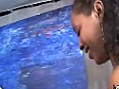 Ebony chick fucked hard in group sex action 19