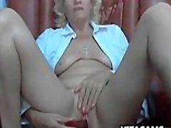 Naughty granny in her son Whore Masturbating