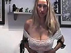 Horny MILF big boobs panties in pussy