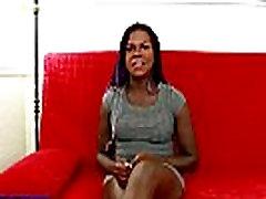 Ebony shemale jerking her cock