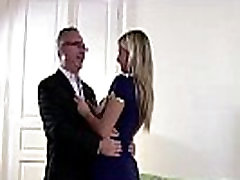 Blonde in uniform does striptease and masturbates for older British dude