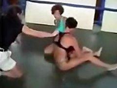 Beautiful Russian womens bikini wrestling match choking female wrestling sideheadlock