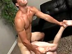 Gay twinks models Sergio uses his strong legs to guide him up and