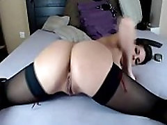 Flexible brunette fucks her asshole hard on cam