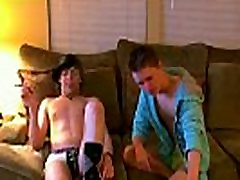 Gay clip of They kiss, wank off together, and Damien swallows