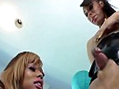 Ebony shemale duo playing closeup at home