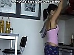 Nude couple having assy bady in the kitchen and reaching orgasm