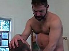 Two bearded chinese ameutr dudes are sucking hard gays