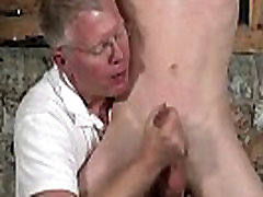 Gay clip of With his sensitive pouch tugged and his sausage jerked