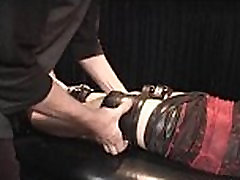 BDSM newbie sex slave strapped to table