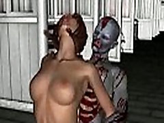 3D babe sucks cock and gets fucked by a zombie