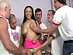 Supr hot ebony chick blows a group of white dicks 30