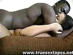Black amateur couple make sex movie at home