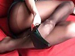 Long luxury legs of redhead MILF LilyWOW in sexy black pantyhose