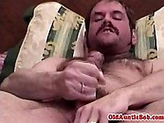 Bear with pierced ball sack wanking self