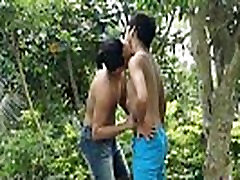Asian twink outdoors getting blown