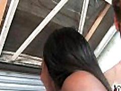 Hot ebony chick in interracial gangbang 15