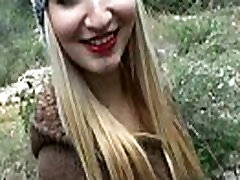 Daytona flashes her ass and banged hard in the woods