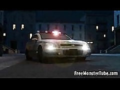 Hot 3D babe lays on a cop car and sucks a monsters cock