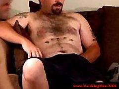 Redneck hairy mature bear jerks off bear
