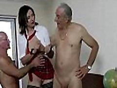 Milf gets facial in threesome