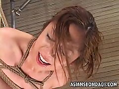 Delicious jetha and babita porn saxi gal has her pussy stimulated during bondage